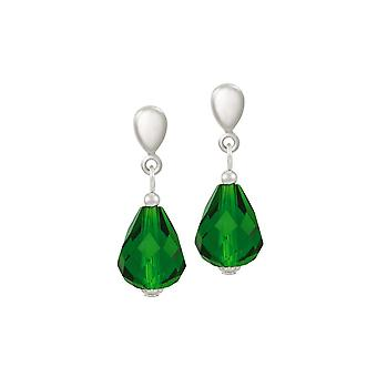 Eternal Collection Sophistication Forest Green Crystal Silver Tone Drop Pierced Earrings