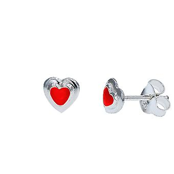 The Olivia Collection Sterling Silver Red Enamel Heart Stud Earrings