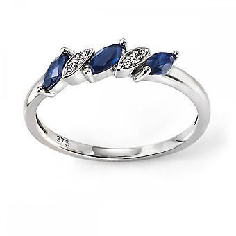 عناصر الذهب 9ct الذهب الأبيض الياقوت الأزرق والماس ماركيز خاتم GR502L