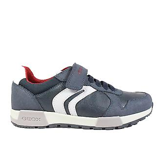Geox Alfier J846NC Navy/Grey Boys Bungee Lace/Rip Tape Trainers