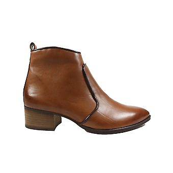 Paul Green 9520-11 Brown Leather Womens Heeled Ankle Boots