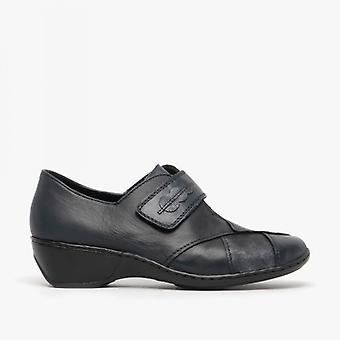 Rieker 47152-14 Ladies Block Heel Shoes Pacific Blue