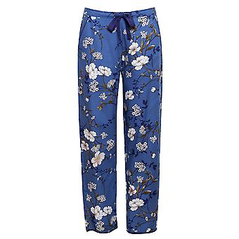 Cyberjammies 4368 Women-apos;s Heather Blue Floral Print Cotton Pyjama Pantalon