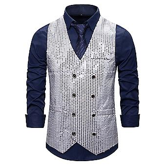 Allthemen Men's Casual Gorgeous V-neck Double-breasted Colorblocked Sequined Suit Vest