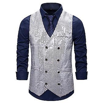 Allthemen miesten ' s rento upea kaula kaksirivinen colorestetty paljettiosa puku liivi