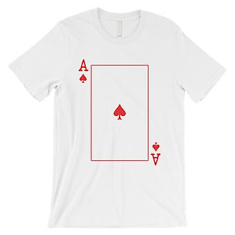 Spade Ace Card Funny Męski Biały T-Shirt