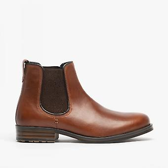 Roamers Tom Mens Oleoso couro tornozelo Boot Conker Brown