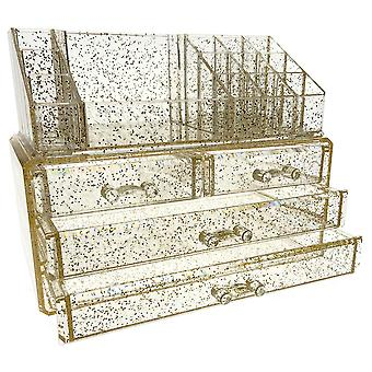 OnDisplay Gold Glitter 4 Drawer Tiered Acrylic Cosmetic/Jewelry Organizer