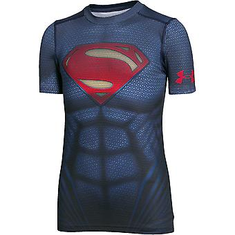 Under Armour Boys Heatgear Superman Suit Shortsleeve Fitted Tee
