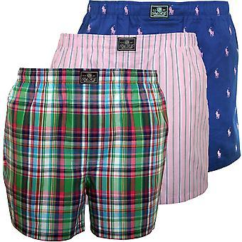 Polo Ralph Lauren 3-Pack Woven Logo/Stripe/Plaid Boxer Shorts, Navy/Green/Pink