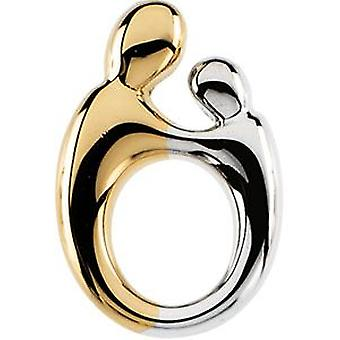 14k Yellow Gold 2 Tone Sm. Mother for boys or girls pendant 14.25 X 1mm - 1.3 Grams