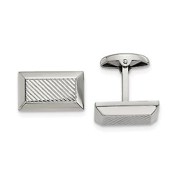 15.9mm Stainless Steel Polished Textured Rectangle Cuff Links Jewelry Gifts for Men