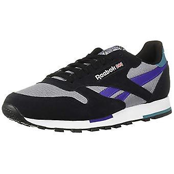 Reebok Men's Classic Leather Sneaker, Black/White/Cool Shadow/Mist/Purple,