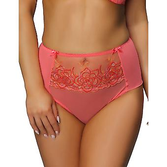 Nessa P2 Women's Koral Coral Pink Solid Colour Embroidered Knickers Panty Full Brief