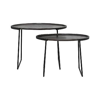 Light & Living Side Table Set Of 2 57x36x41 And 65x46x48cm Roja D.Bronze-Matt Black