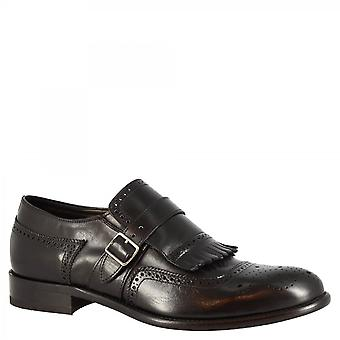 Men's handmade monk brogues loafers shoes in black calf leather