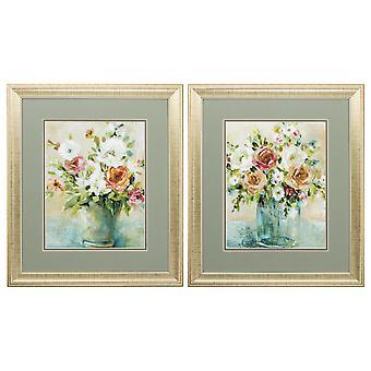 "19"" X 22"" Gold Frame Bouquet Arrangement (Set of 2)"