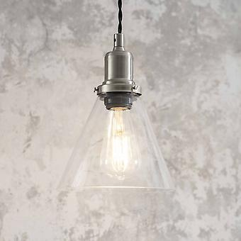 Garden Trading Hoxton Cone Glass & Satin Nickel Pendant Light