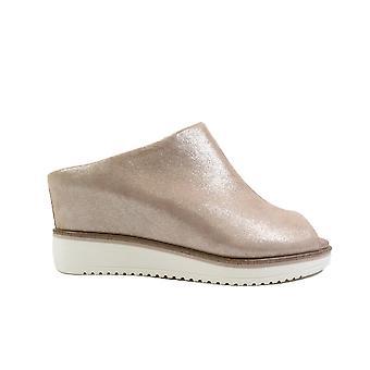 Tamaris 27200 Rose Pearl Leather Womens Slip On Mule Hidden Wedge Heeled Sandals