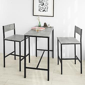 SoBuy OGT03-HG, Bar Table and 2 Stools, 3 Pieces Kitchen  Breakfast Bar Set