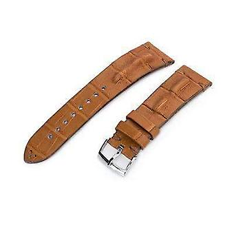 Strapcode alligator watch strap 20mm or 22mm miltat italian handmade hornback alligator saddle brown watch strap