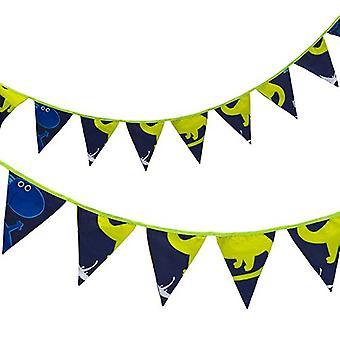 Bannière de drapeaux de bunting de tissu de lit régulier de prêt Imprimé Polycotton Party et Décoration de chambre à coucher pour les enfants (fr) Birthday Bunting for Girls or Boys (fr) 3 mètres (Dino dans l'obscurité)