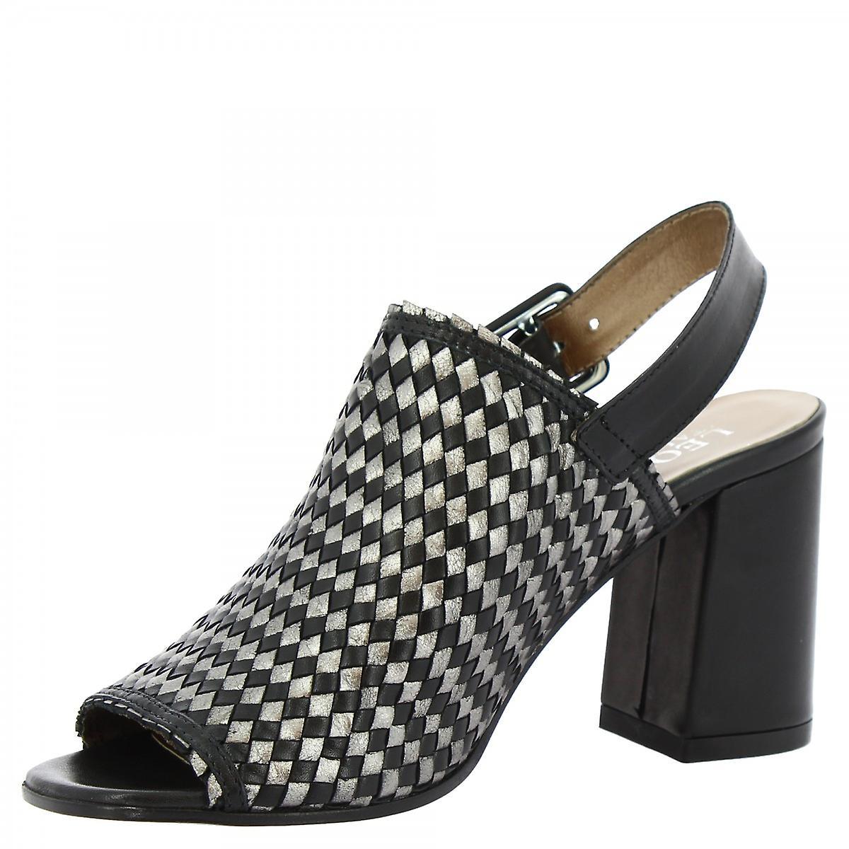 Leonardo Shoes Women's handmade slingback heel sandals black woven calf buckle 7FGOM