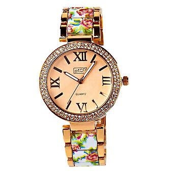 Eton mujeres oro rosa tono / blanco floral impresión pulsera, reloj de moda 3190J-WT
