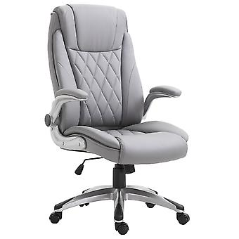 Vinsetto High Back Executive Office Chair Home Swivel PU Leather Ergonomic Chair, with Flip-up Arm, Wheels, Adjustable Height, Grey