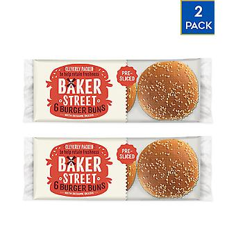 2 x 6 Pack Baker Street Burger Buns Bakery Vegan Closet Food BBQ Grill Snack