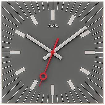 AMS 9577 Veggklokke Kvarts analogt glassgrå firkantet stille uten tikkende