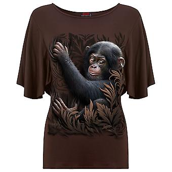 Spiral Direct Gothic MONKEY BUSINESS - Boat Neck Bat Sleeve Top Chocolate Fashion Cute Tribal