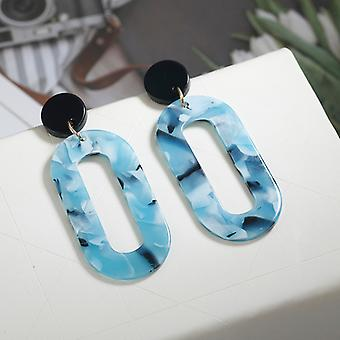 Aqua Resin Acrylic Geometric Drop Earrings