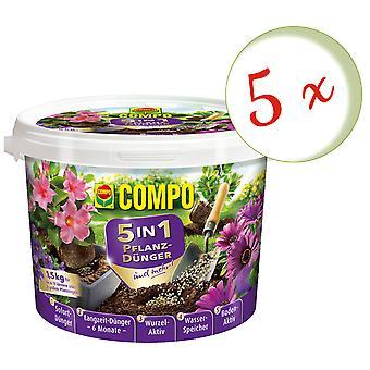 Sparset: 5 X COMPO 5in1 الأسمدة النباتية وأكثر من ذلك، 1.5 كجم