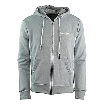 Roberto Cavalli Large Snake Crest Grey Zip Up Hoodie