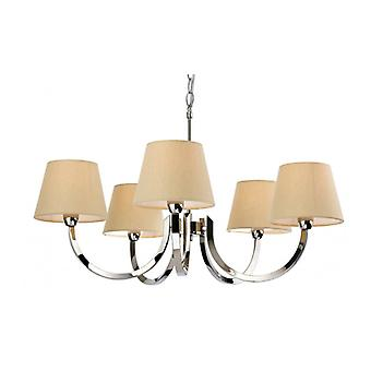 Fairmont 5-light Pendant Light, Stainless Steel, With Lampshade