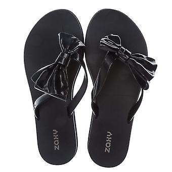 Women's Zaxy Fresh Seduce Bow Flip Flops in Black