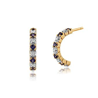 Classic Round Sapphire & Diamond Half Hoop Style Earrings in 9ct Yellow Gold 181E0763039