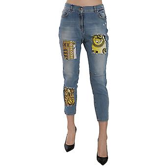 Versace Jeans Blue Patched Cropped Skinny Fit Denim Pant