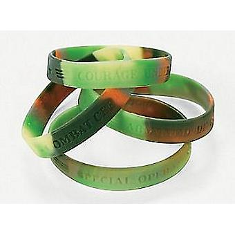 12 Camouflage Army Bracelets Party Bag Fillers for Kids