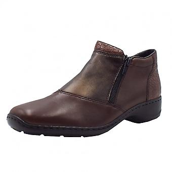 Rieker 58359-25 Mahoni Comfortable Ankle Boots In Brown Mix
