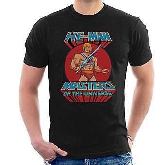 T-shirt dos homens do logotipo retro dos mestres do universo ele homem