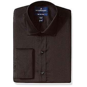 BUTTONED DOWN Men's Slim Fit French Cuff Micro Twill Non-Iron Dress Shirt, Bl...