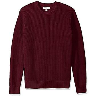 Goodthreads Men's Soft Cotton Rib Stitch Crewneck Sweater, Solid Burgundy, XX...