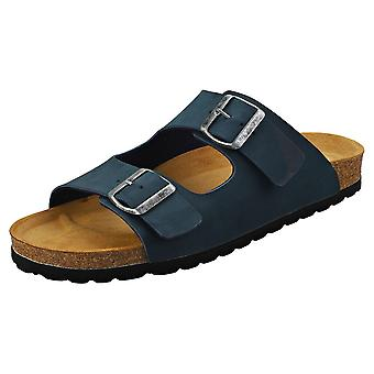 Cosmos Comfort Classic Two Strap Two Buckle Mens Walking Sandals in Navy