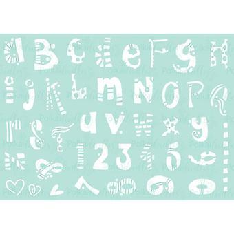 Polkadoodles Funky Alphabet A5 Stencil