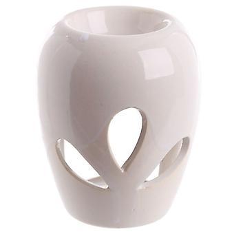 Small Ceramic Bulbous Shaped Petal Cut Out Oil Burner 10.5cm White by Eden