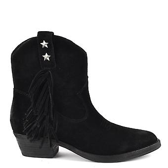 Ash INDY Fringed Boots Black Suede