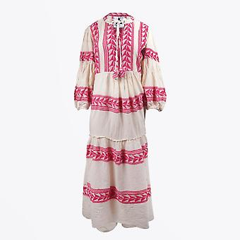 Pearl & Caviar  - Embroidered Aztec Maxi Dress - Pink/Cream