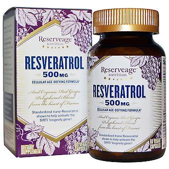 ReserveAge Voeding, Resveratrol, 500 mg, 60 Veggie Capsules